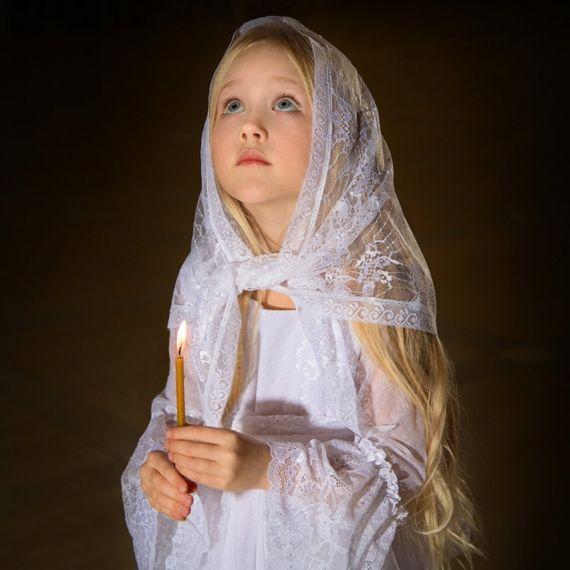 ЛОЗА платок в храм вязаный