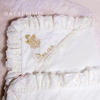 Вышивка Ангелочка на крестильной пеленке