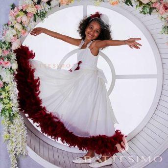 КАРМЕН - платье с боа для девочки