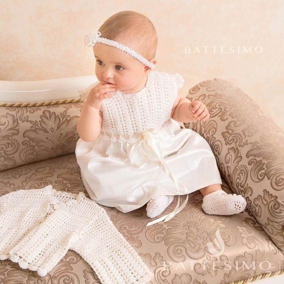 Крестильное платье для девочки крючком МЕРИНО